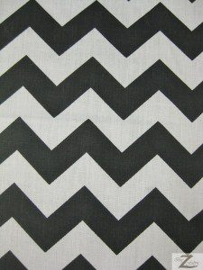 1″ Zig Zag Chevron Poly Cotton Fabric Black