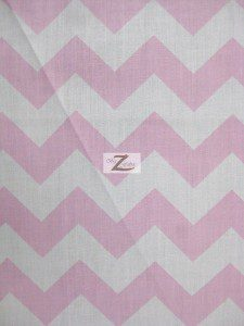 1″ Zig Zag Chevron Poly Cotton Fabric Pink