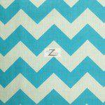 1″ Zig Zag Chevron Poly Cotton Fabric Turquoise
