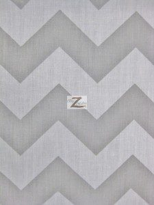 1″ Zig Zag Chevron Poly Cotton Fabric Gray