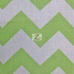 1″ Zig Zag Chevron Poly Cotton Fabric Lime