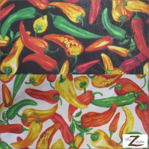 Vegetable Pepper Poly Cotton Fabric