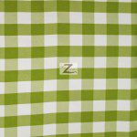 "Gingham 1"" Checkered Poly Cotton Fabric Apple Green"