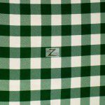 "Gingham 1"" Checkered Poly Cotton Fabric Hunter Green"