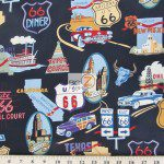 Alexander Henry Cotton Fabric Route 66 Black