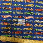 David Textiles Cotton Fabric Hot Wheels Cars In A Lane