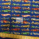 David Textiles Cotton Fabric Hot Wheels Cars In A Lane