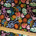 David Textiles Cotton Fabric Sugar Skulls Black