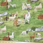 Elizabeth's Studio Cotton Fabric Llamas At The Farm