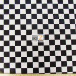 Poly Cotton Printed Fabric Square Checkered Black White