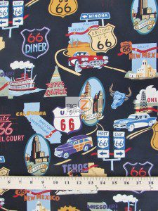 Cotton Fabric By Alexander Henry Route 66 Black