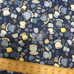 Hoffman California Cotton Fabric Tiana Teacups Blue