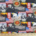 Support Our Troops The Marines American Cotton Fabric