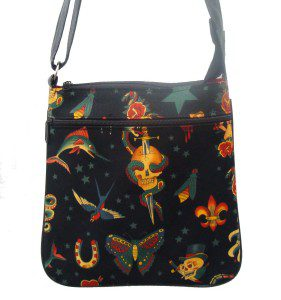 Tattoo Black Cotton Fabric Fashion Purse