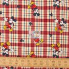 Disney Cotton Fabric Mickey On Woven Plaid