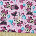 Disney Cotton Fabric Minnie Paint And Hearts