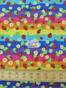 Daisies And Ladybugs By David Textiles Cotton Fabric