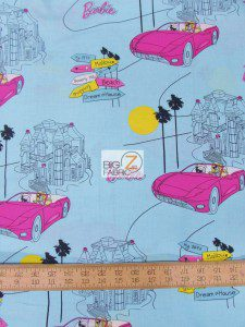Barbie Down The Strip Cotton Fabric
