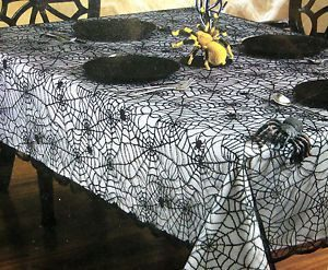 Halloween Cotton Fabric Web Tablecloth