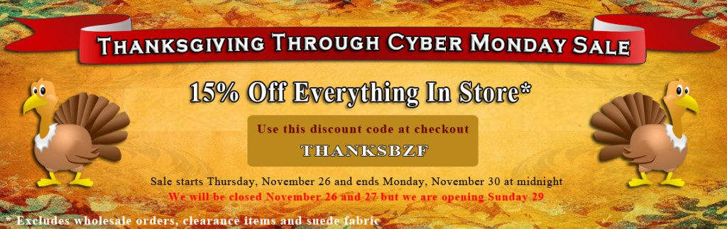 Big Z Fabric Thanksgiving Cotton Madness Sale