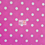 Polka Dot Cotton Fabric Fuchsia
