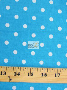 Polka Dot Cotton Fabric Turquoise