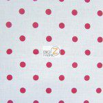 Polka Dot Cotton Fabric White Red Dots