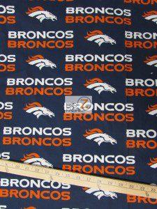 Denver Broncos Blue All Over Logo Cotton Fabric