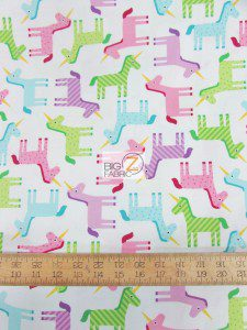 Wondering Unicorns White By Robert Kaufman Cotton Fabric
