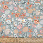 Benartex Cotton Fabric Cabana Seashell Life