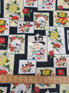 Ed Hardy Love Is True Cards Cotton Fabric