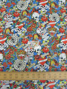 Ed Hardy Love Is True Skulls Blue Cotton Fabric