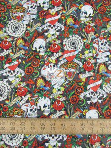 Ed Hardy Love Is True Skulls Cotton Fabric