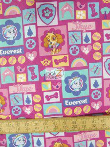 Girly PAW Patrol Skye & Everest Cotton Fabric