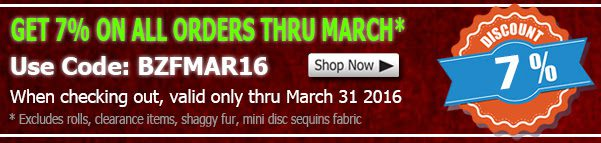 March 2016 Cotton Fabric Discount Coupon
