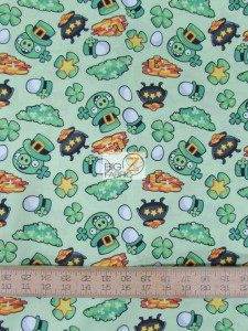 St Patrick's Day Angry Birds Cotton Fabric