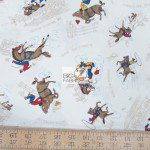 Western Print Cotton Fabric Ride 'Em Cowboy Rodeo