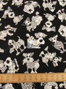 Loralie Designs Cotton Fabric Doodle Dogs