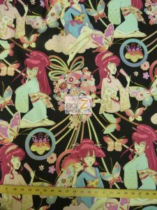 Alexander Henry Black Miss Butterfly Cotton Fabric