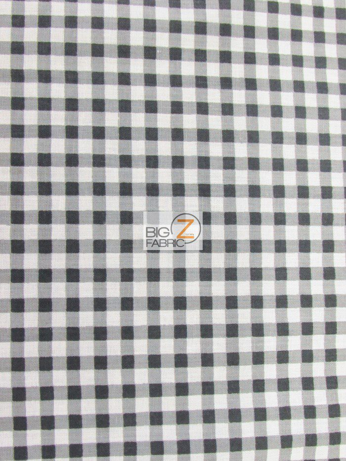 Black Mini Checkered Gingham Poly Cotton Fabric
