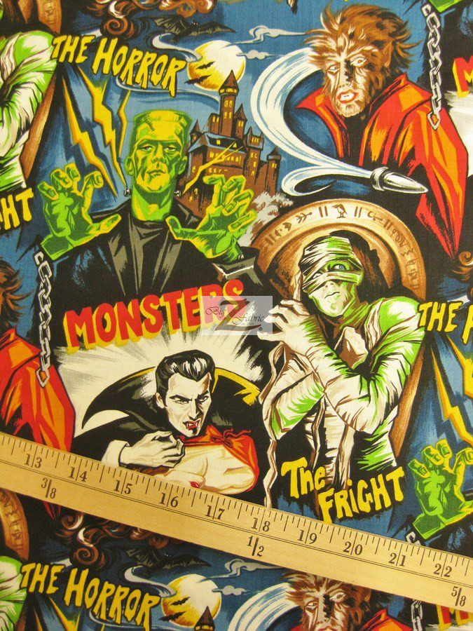 Halloween Monsters Cotton Fabric