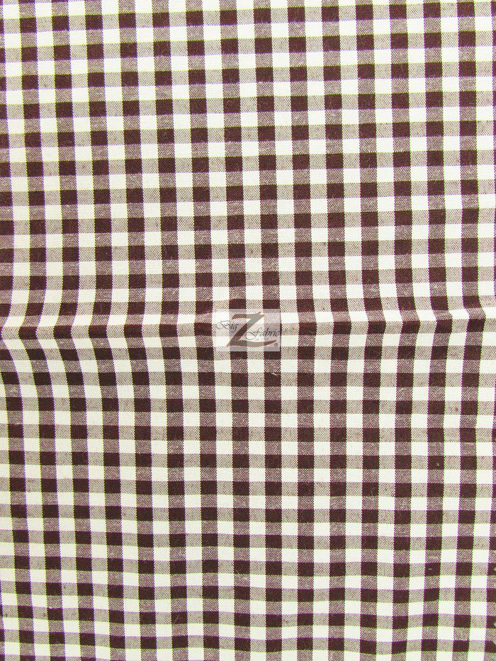 Brown Mini Checkered Gingham Poly Cotton Fabric