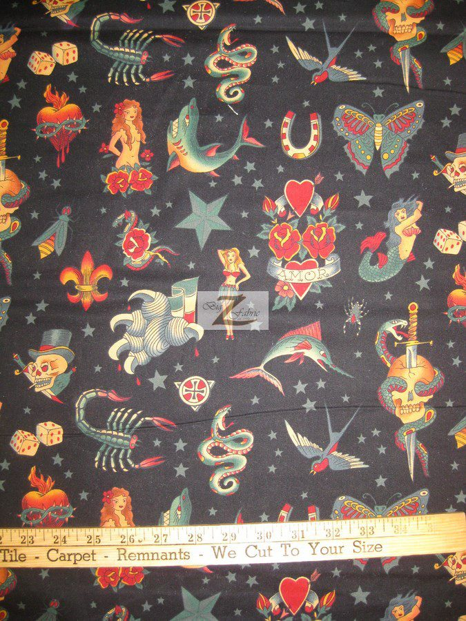Alexander Henry Tattoo Black Cotton Fabric