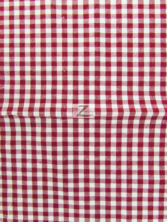 Burgundy Mini Checkered Gingham Poly Cotton Fabric