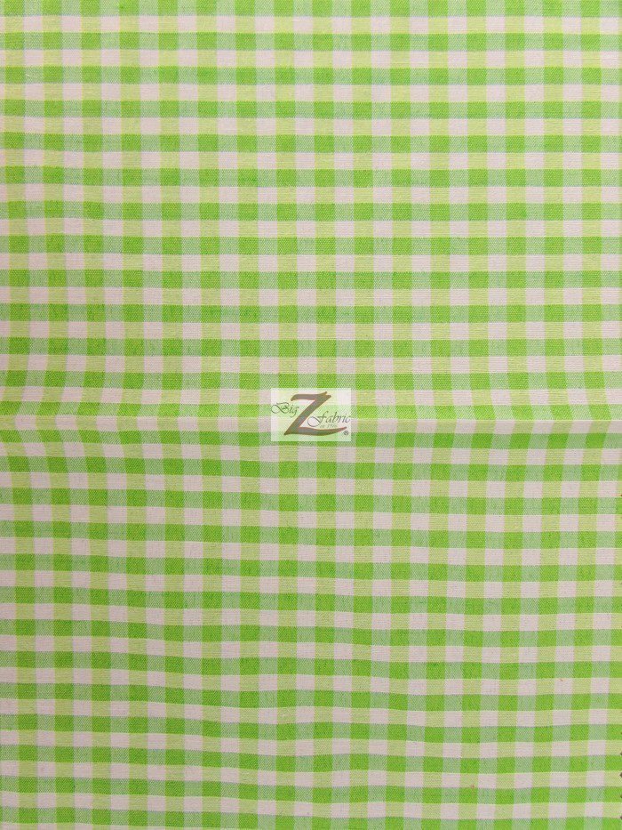 Lime Green Mini Checkered Gingham Poly Cotton Fabric