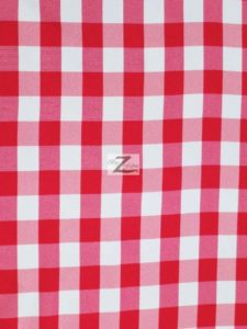 Checkered Gingham Poplin Fabric Fuchsia