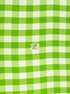 Checkered Gingham Poplin Fabric Green
