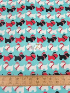 Jingle 3 Christmas Dogs Aqua By Robert Kaufman Cotton Fabric