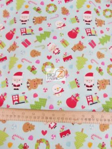 Santa Express Blue By Riley Blake Cotton Fabric