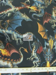 Tale Of The Dragon Black Cotton Fabric